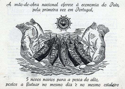 A mão-de-obra nacional oferece à economia do País, pela primeira vez em Portugal, 5 novos navios para a pesca do alto, postos a flutuar no mesmo dia e no mesmo estaleiro