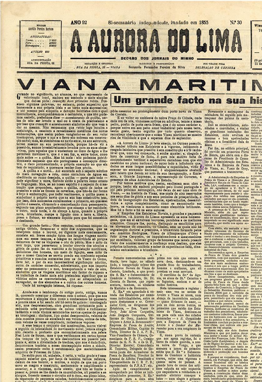 Viana marítima: um grande facto na sua história