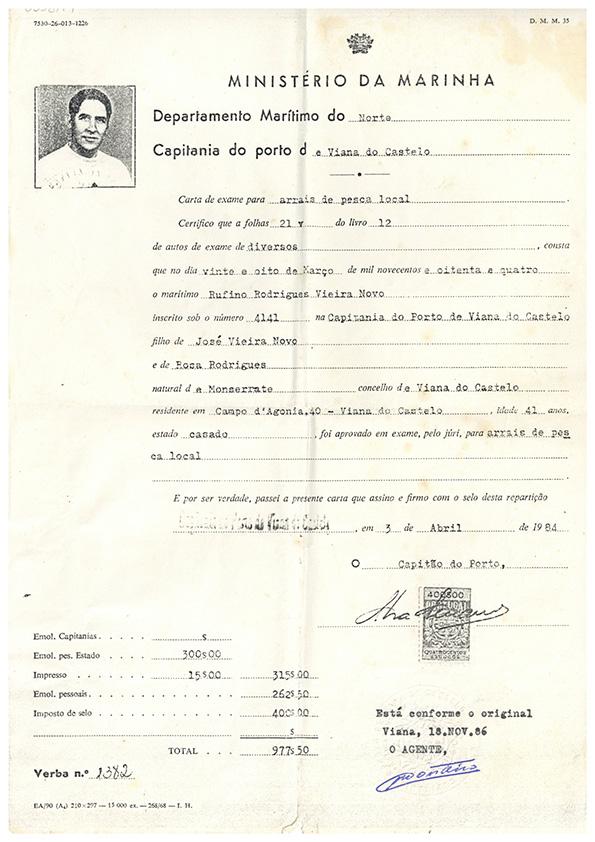 Carta de exame para arraiais de pesca local – Rufino Rodrigues Vieira