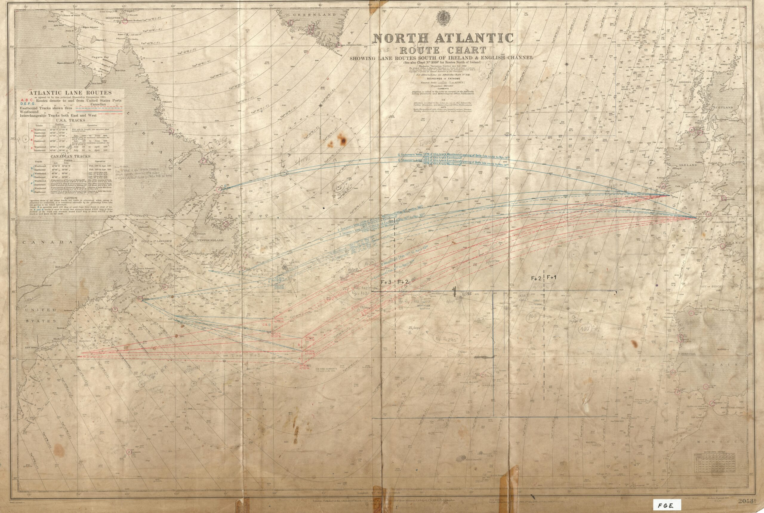 North Atlantic – route chart – showing lanes routes south of Ireland & english channel