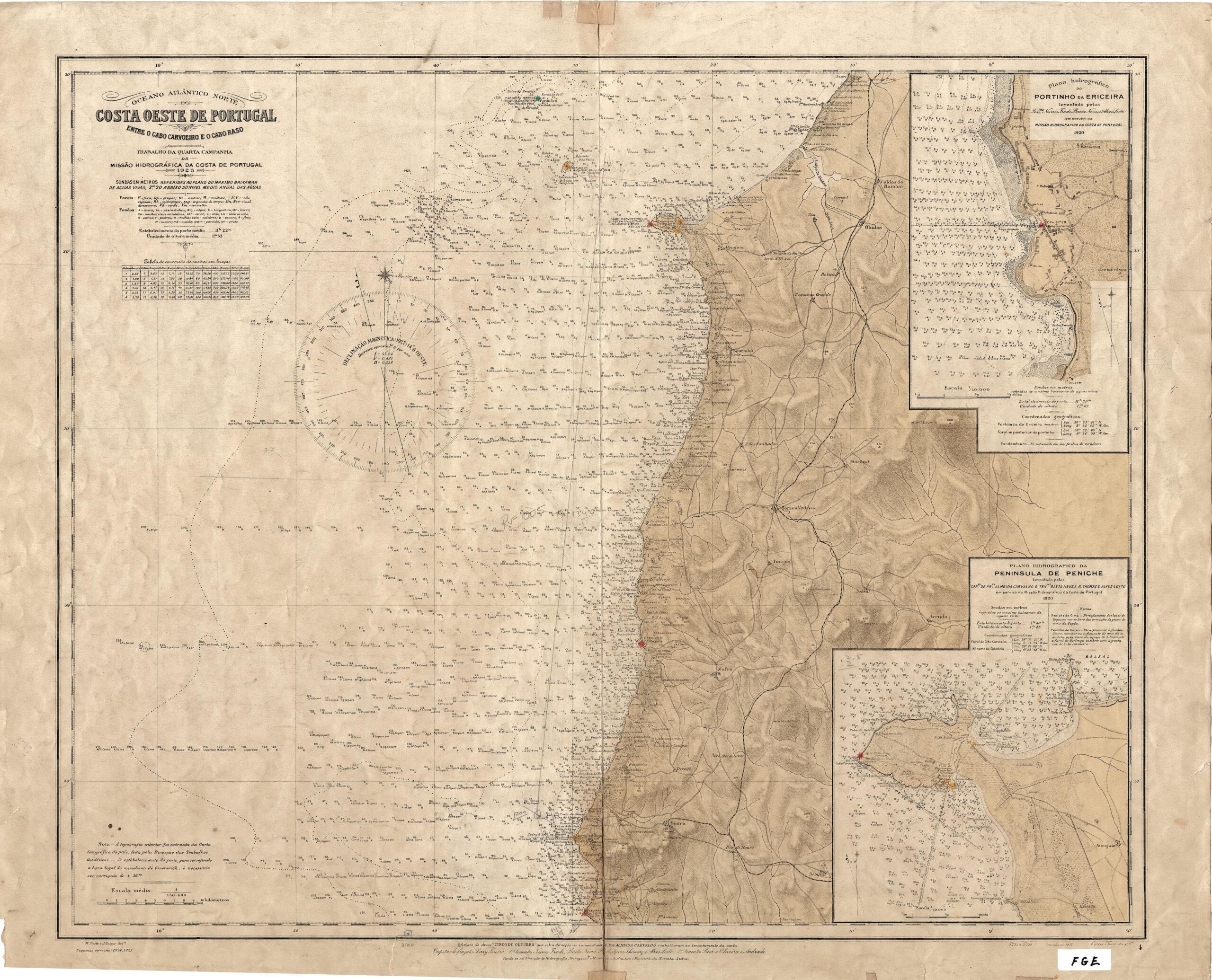 Costa oeste de Portugal – entre o Cabo Carvoeiro e o Cabo Raso