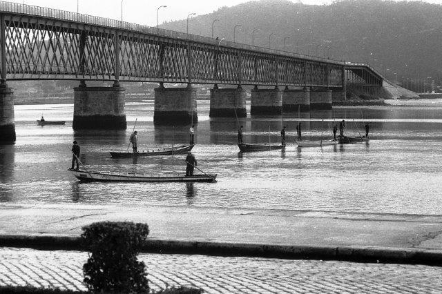 Pescadores de lampreia ao largo do rio Lima